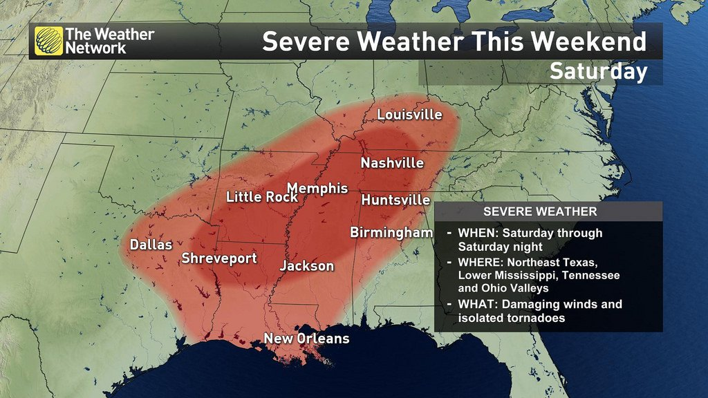 La mitad oriental de los Estados Unidos enfrenta tornado, fuertes...