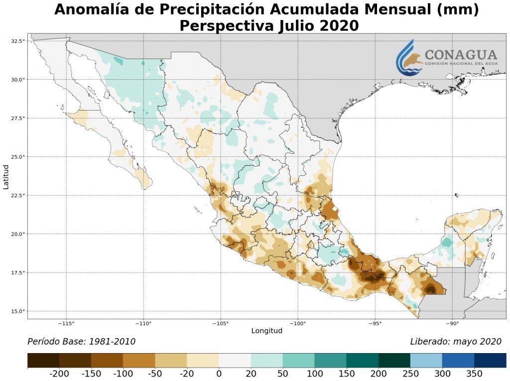 Anomalía de precipitación acumulados mensuales en julio 2020 (mm)