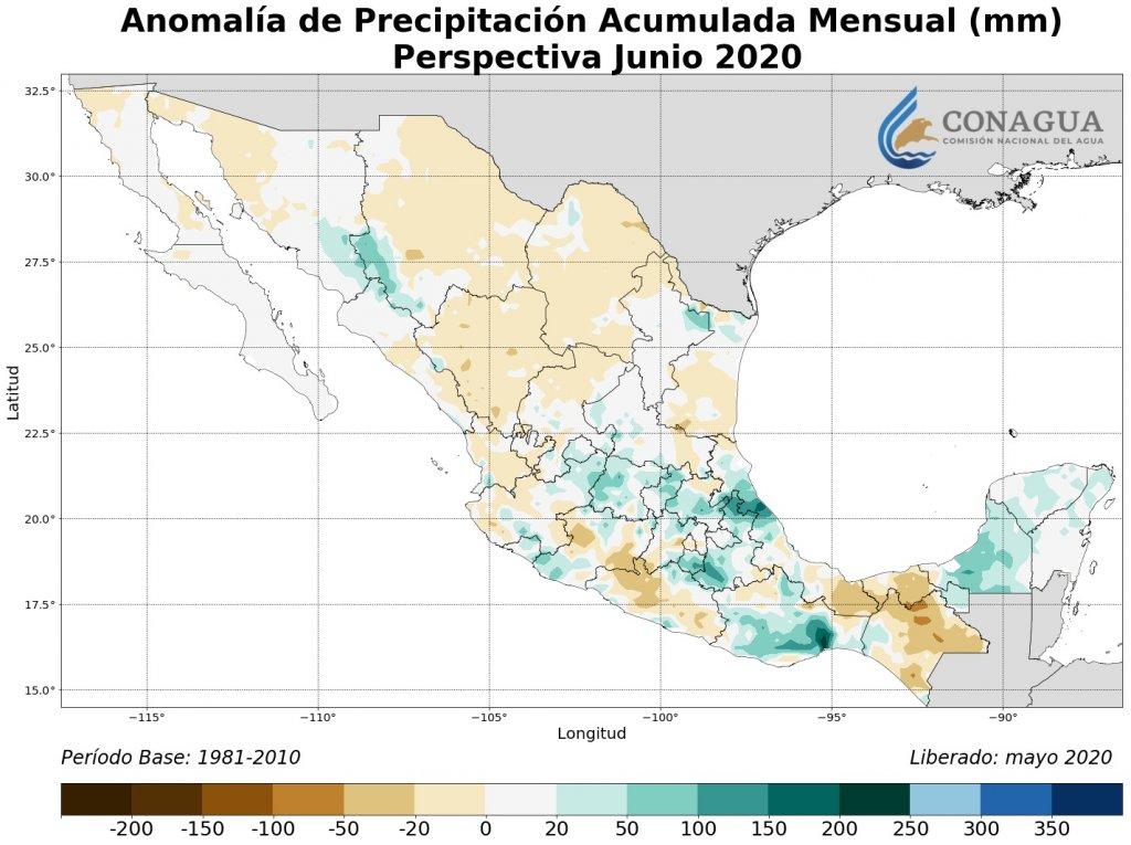 Anomalía de precipitación acumulados mensuales en junio 2020 (mm)
