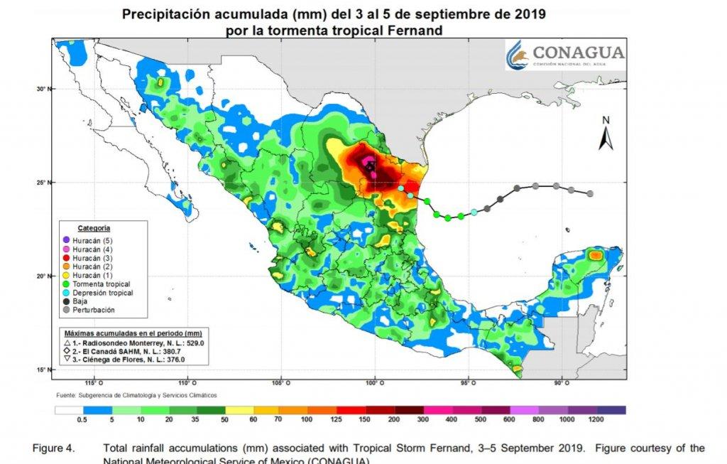 Lluvia acumulada tras la Tormenta Tropical Fernand