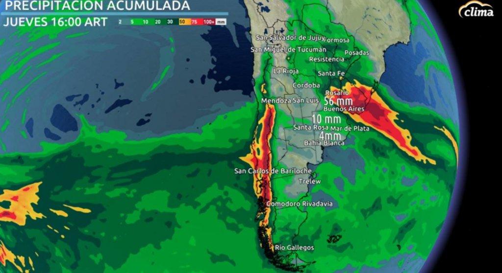 Mapa de lluvia en Argentina. Tiempo en Buenos Aires