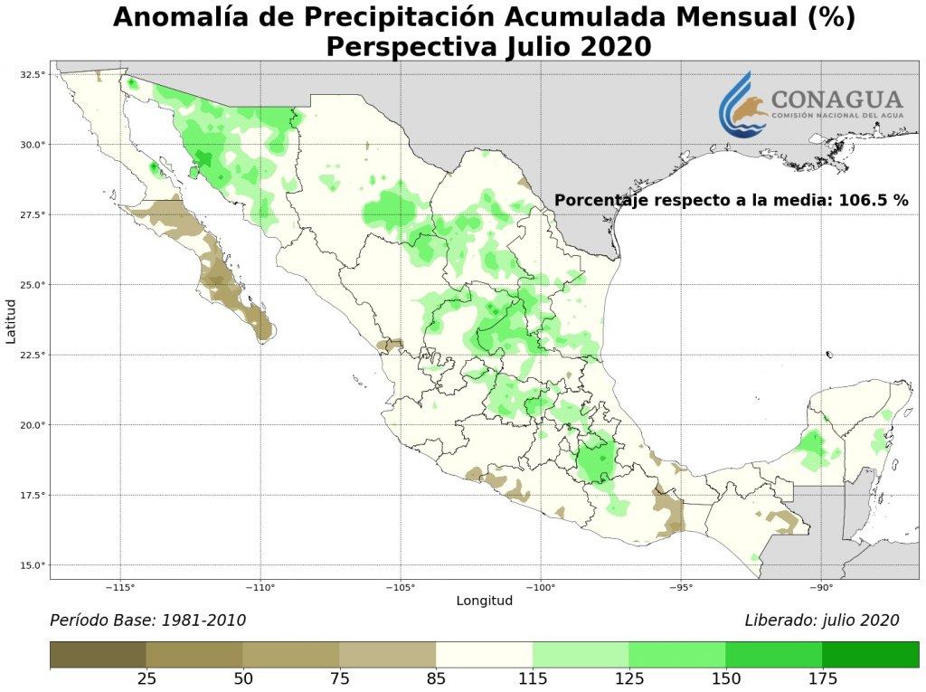 Perspectiva: Anomalía Precipitación Acumulada julio en %