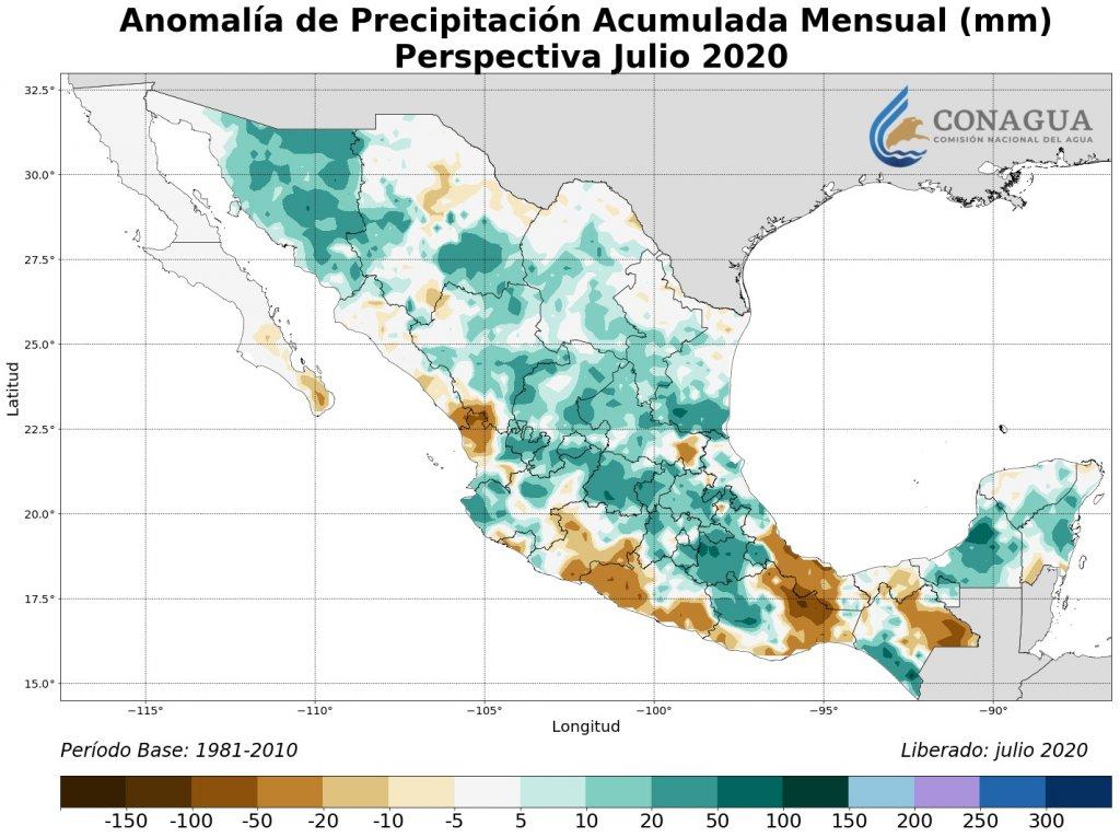 Perspectiva: Anomalía Precipitación Acumulada julio en mm