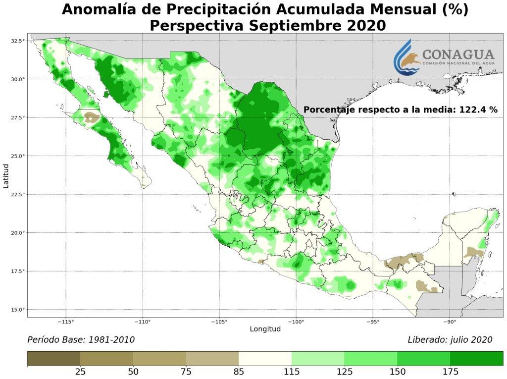 Perspectiva: Anomalía Precipitación Acumulada agosto en %