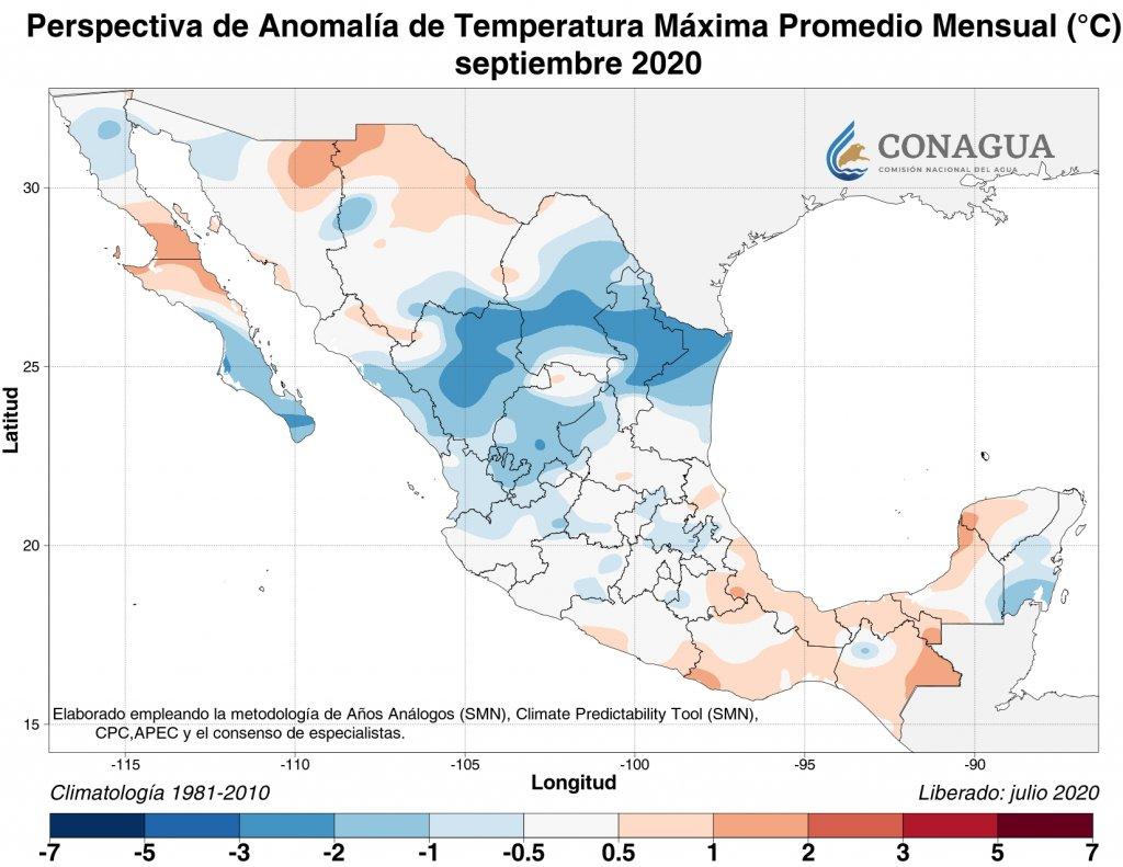 Perspectiva: Anomalía de temperatura máxima promedio septiempre 2020 en C