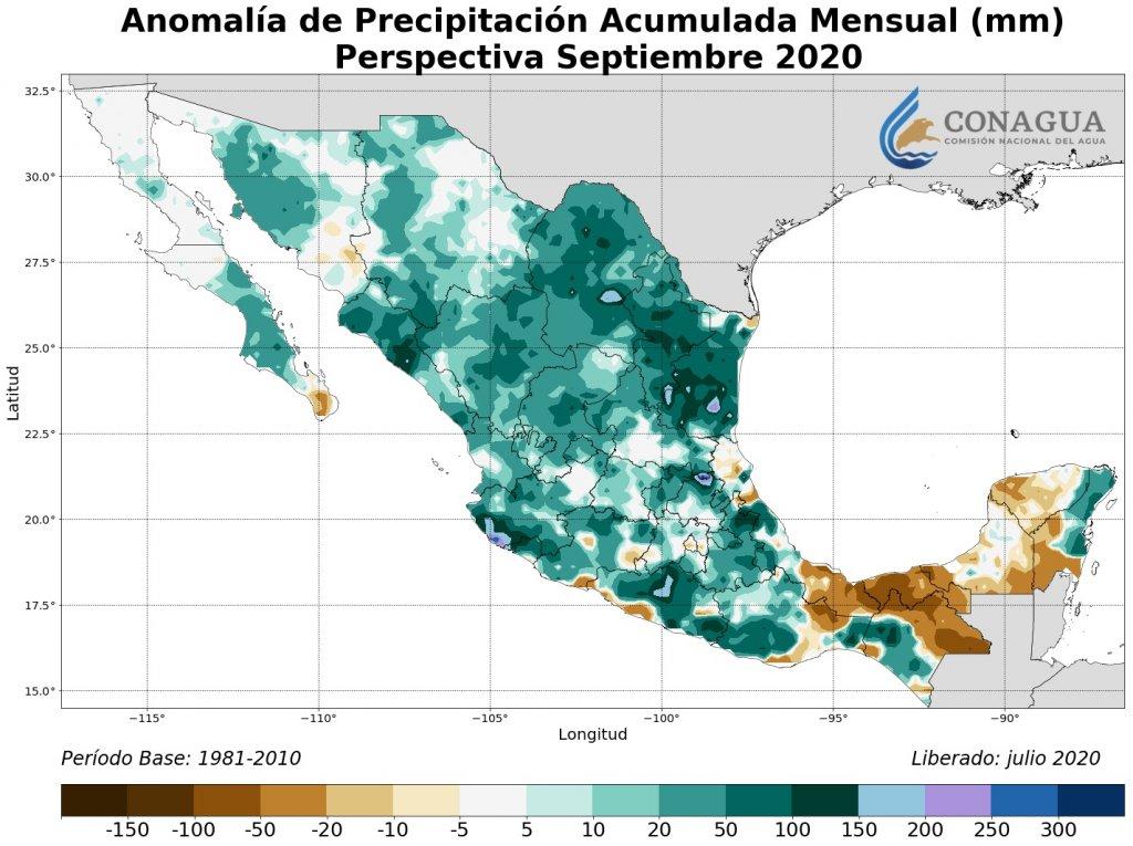 Perspectiva: Anomalía Precipitación Acumulada septiembre en mm
