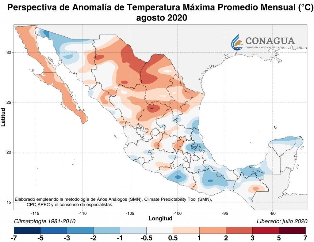 Perspectiva: Anomalía Temperatura máxima promedio agosto 2020 en C.