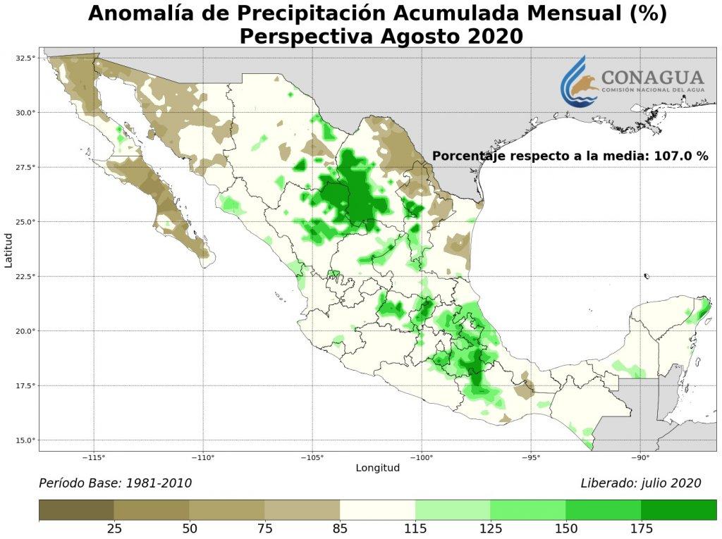 Anomalía Precipitación Acumulada agosto en %