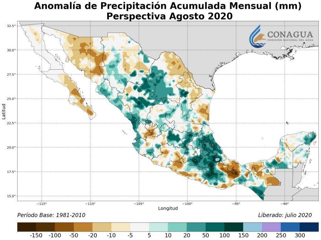 Perspectiva: Anomalía Precipitación Acumulada agosto en mm