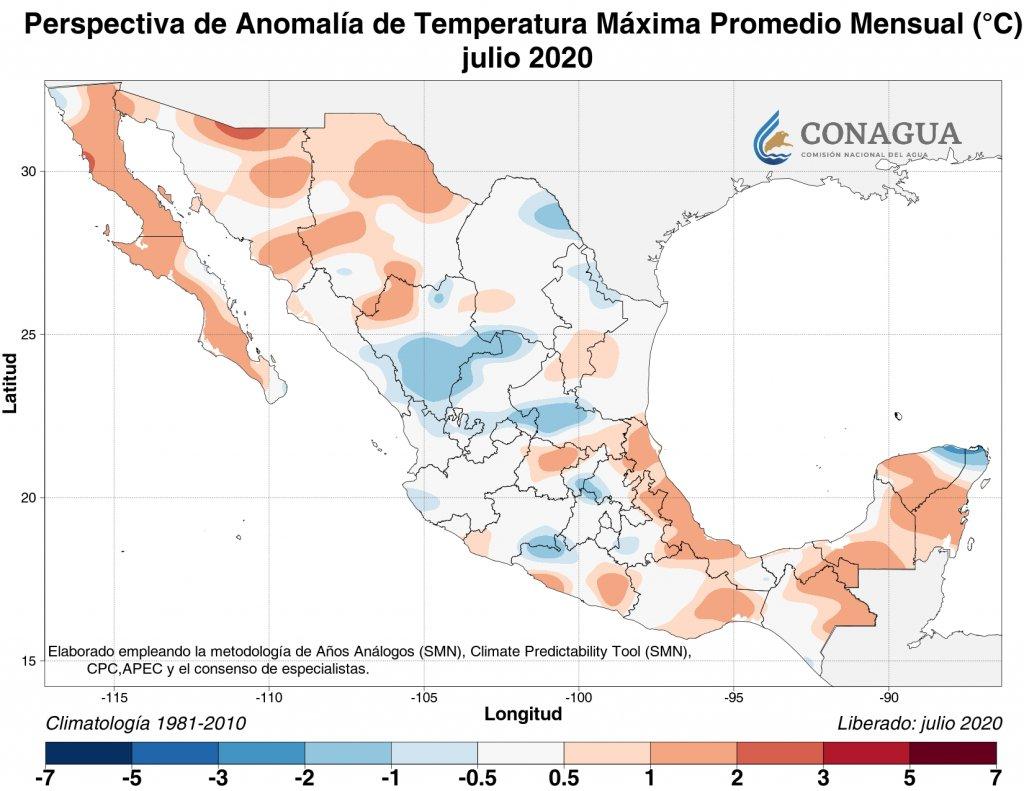 Perspectiva: Anomalía de temperatura máxima promedio julio 2020 en C