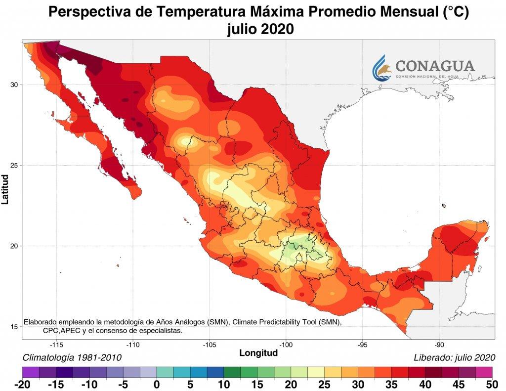 Perspectiva: Temperatura máxima promedio julio 2020 en C