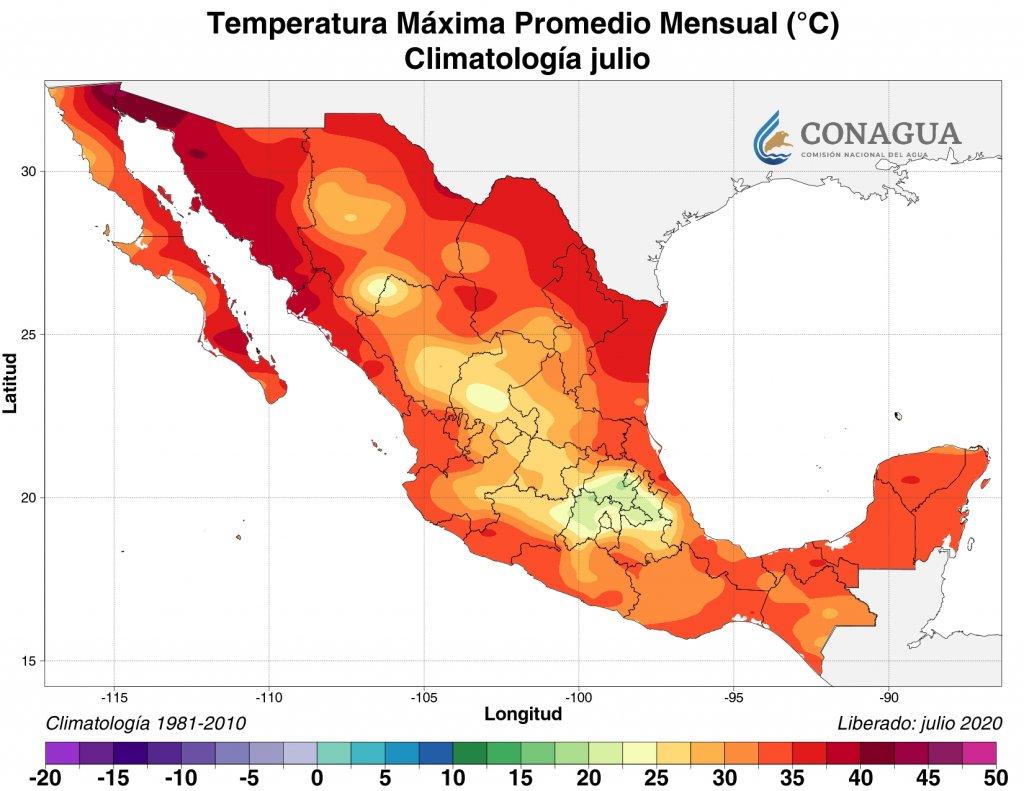 Climatología: Temperatura máxima promedio julio 2020 en C