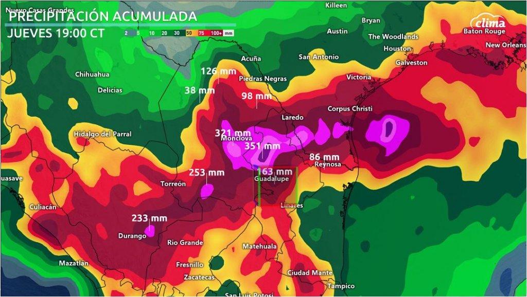 Lluvias torrenciales para el noreste de México