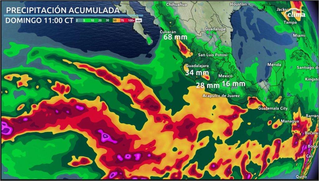 Lluvias acumuladas desde el martes al domingo