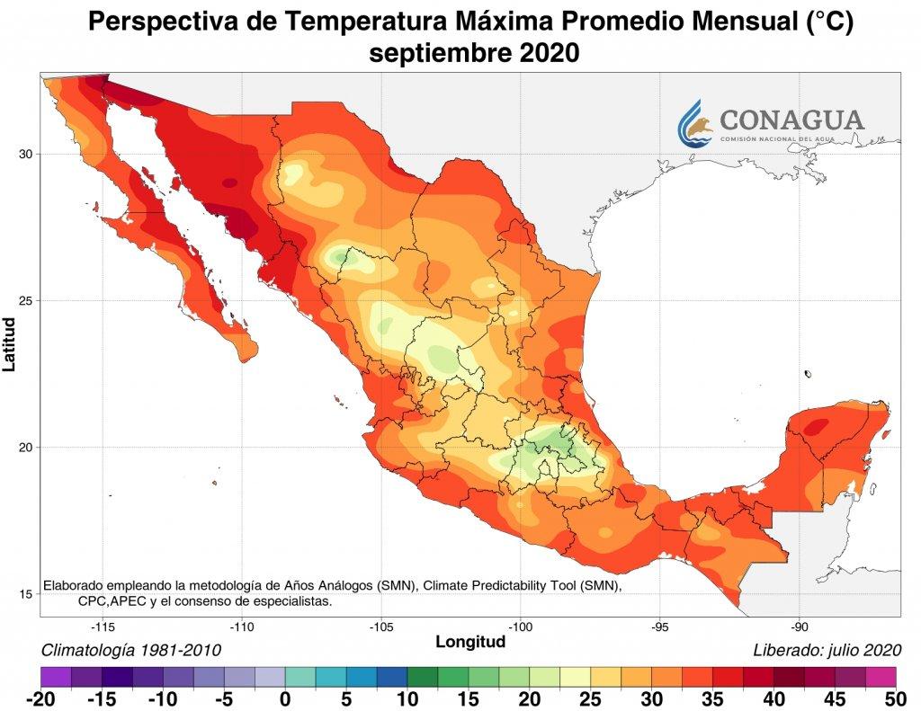 Perspectiva: Anomalía de temperatura máxima promedio septiembre 2020 en C