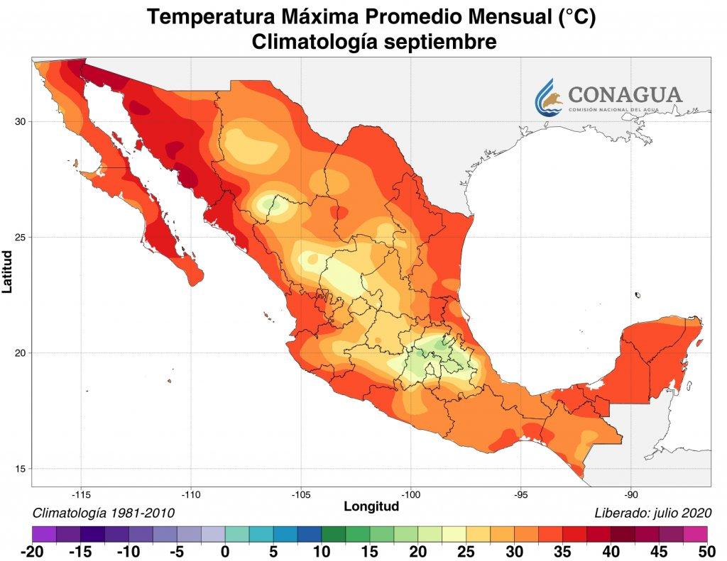 Climatología: Temperatura máxima promedio septiembre 2020 en C