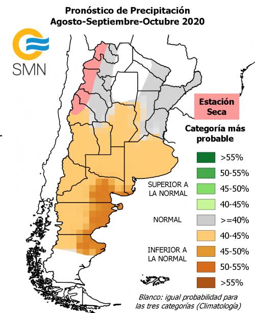 Precipitaciones: Pronóstico climático para el trimestre agosoto septiembre y octubre de 2020. Servicion Nacional Meteorológico de Argentina