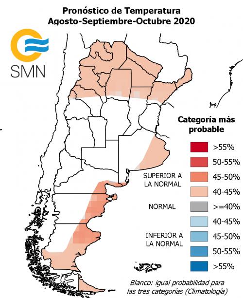 Temperaturas: Pronóstico climático para el trimestre agosoto septiembre y octubre de 2020. Servicion Nacional Meteorolologico de Argentina