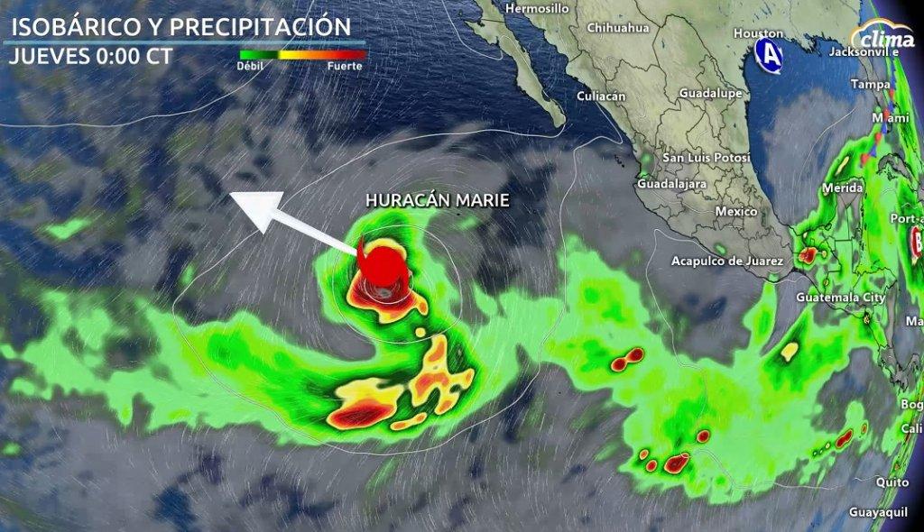 Marie puediese ser un potente huracán sobre el Pacífico oriental. Se aleja de las costas mexicanas