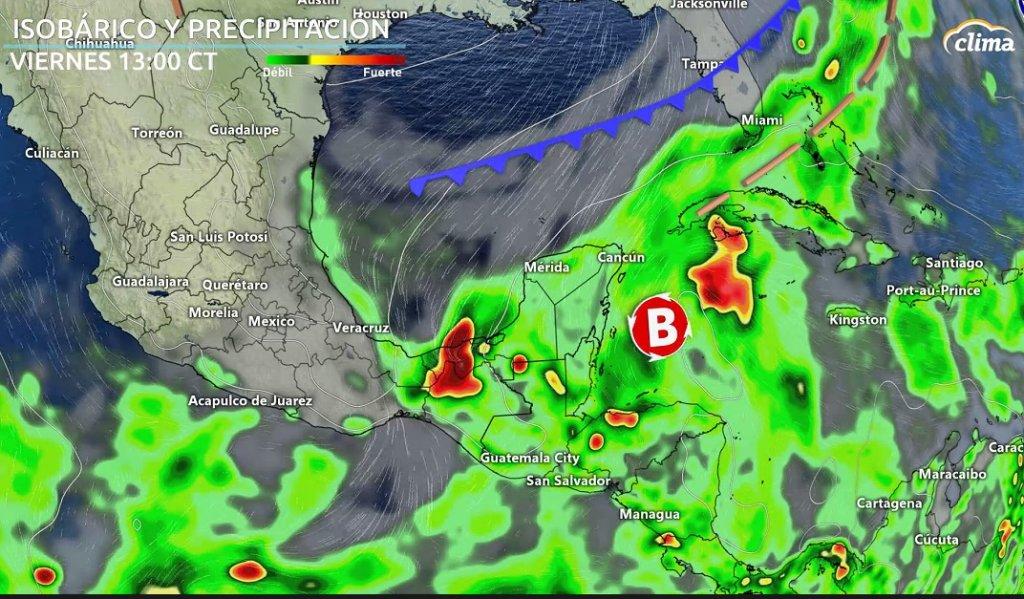 Onda Tropical puede tener desarrollo tropical al llegar al Caribe Occidental. Situación en superficie el viernes