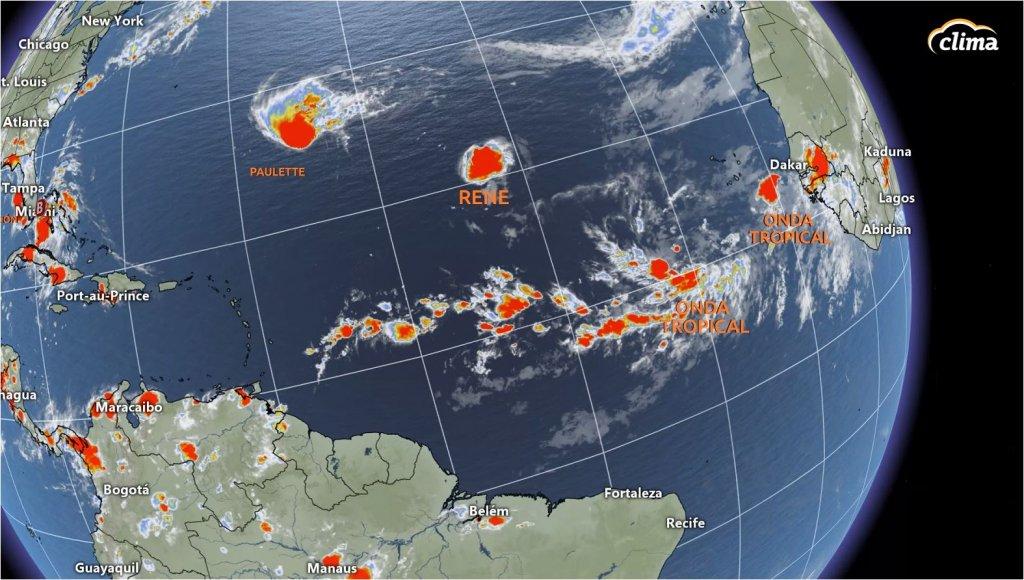 Tormentas y ondas tropicales alineadas sobre el Atlántico