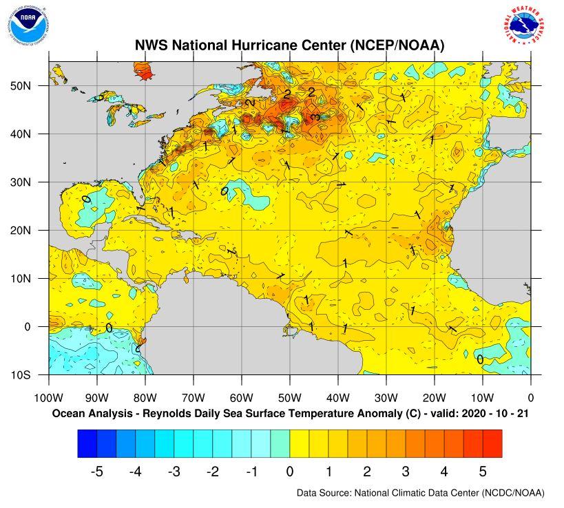 Anomalías de la temperatura de la superficie del mar en el Atlántico norte. 21 de octubre 2020. Fuente: NOAA