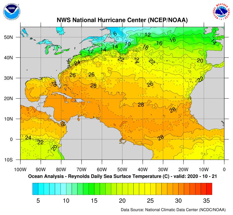 Temperatura de la superficie del mar en el Atlántico norte. 21 de octubre 2020. Fuente: NOAA