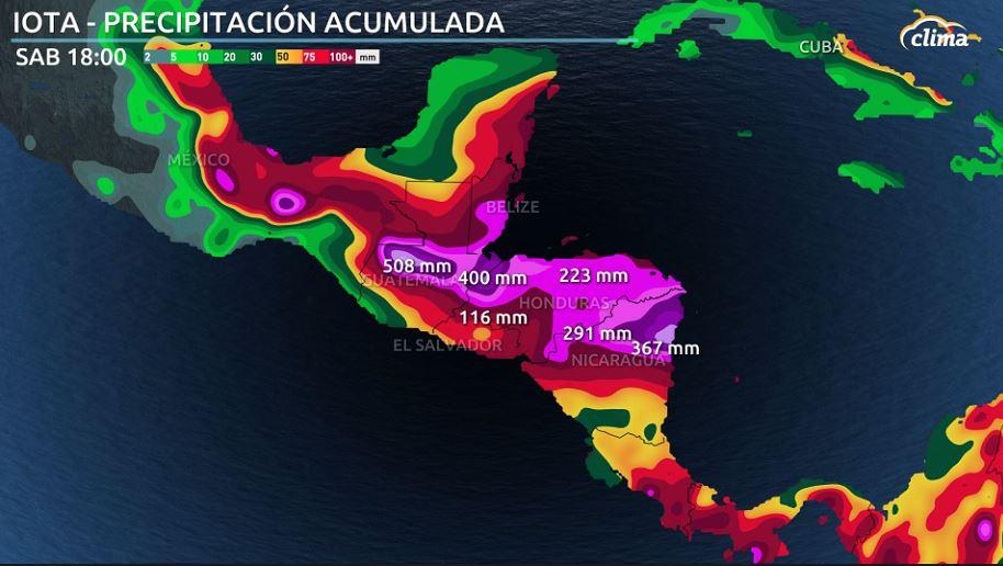 Previsión de precipiaciones desde el lunes al sánado por Iota en Centroamérica