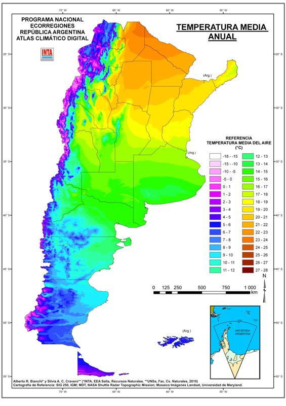 Temperatura Media Anual Argentina. Mapa INTA
