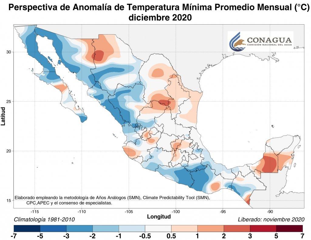 Anomalias de temperaturas mínimas promedio para diciembre 2020. Mapa por Conagua