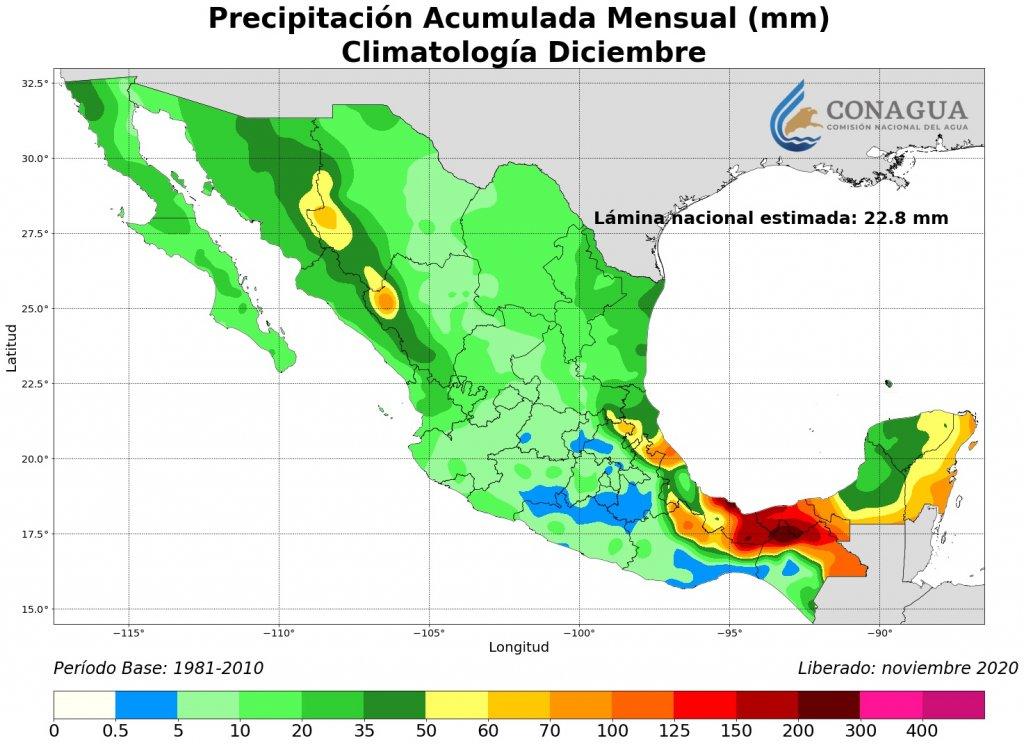 Promedio mensual de lluvias en diciembre. Mapa por Conagua