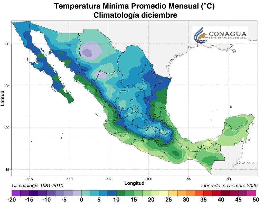 Promedio mensual de temperatuas mínimas en diciembre. Mapa por Conagua
