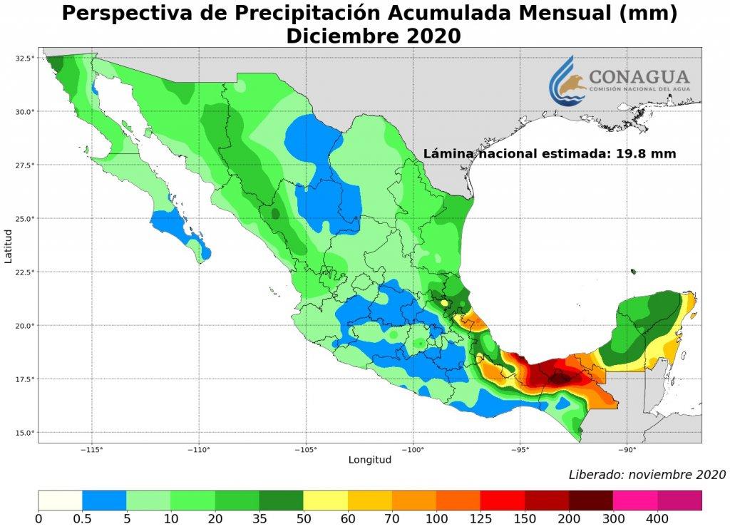 Lluvias promedio pronosticadas para diciembre 2020. Mapa por Conagua