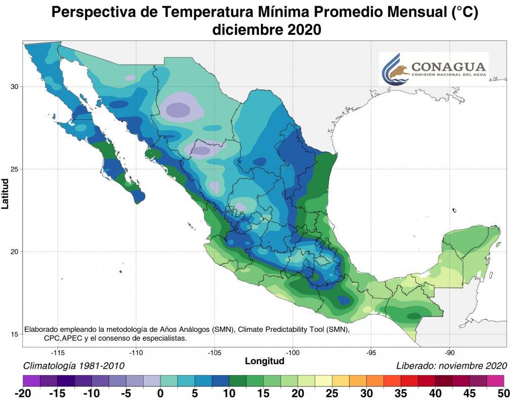 Temperaturas mínimas promedio pronosticadas para diciembre 2020. Mapa por Conagua