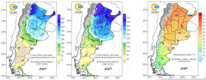 Límite inferior y superior del rango de precipitaciones (mapas a la izquierda) y temperatura media (derecha) para los meses de diciembre, enero y febrero. (1981-2010). Pronóstico de precipitación diciembre 2020 - enero, febrero 2021. Mapa por SMN