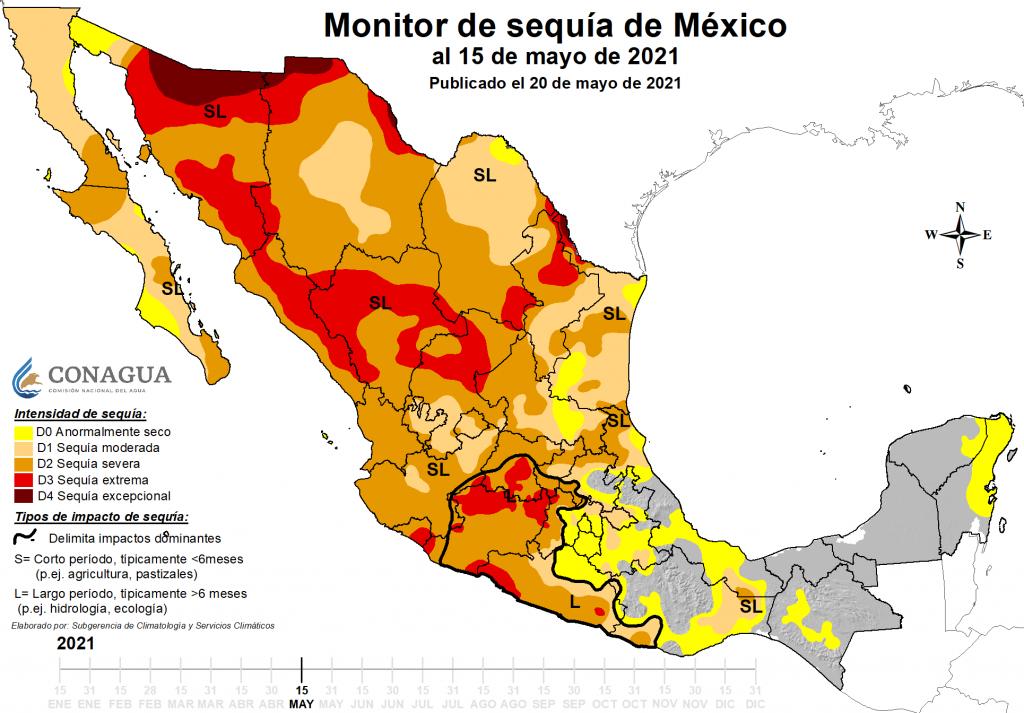 Mapa de monitor de sequía hasta el 15 de mayo2021