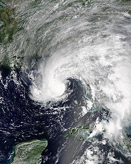 Tormenta Tropical Alberto sobre el Golfo de México en mayo del 2018