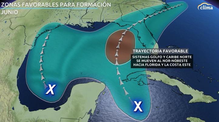 Zonas favorables para la formación de ciclones durante el mes de junio