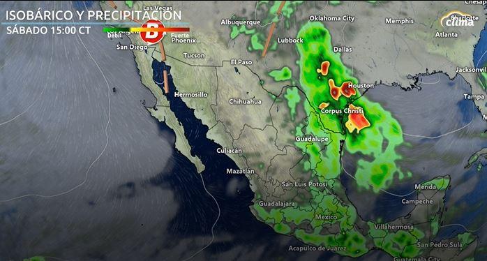 Pronóstico de lluvias para el sábado por la tarde.