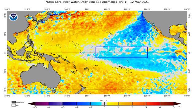 Anomalías de temperaturas sobre el Pacífico Oriental y Central. Medidas en mayo. NOAA
