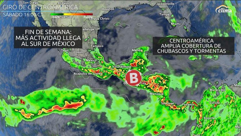 El Giro de Centroamérica es un área amplia de circulaciones ciclónicas en la capa más baja de la atmósfera. Este amplio remolino es similar a los sistemas amplios monzónicos de baja presión en otras cuencas oceánicas. Este giro de Centroamérica puede formarse por México, Centroamérica o por el Caribe. El aumento de cobertura e intensidad de tormentas será notable durante el fin de semana sobre el sur de México.
