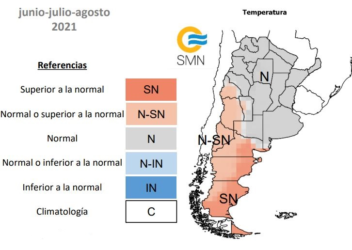 Probabilidad de rango de temperaturas en Argentina durante los meses de junio, julio y agosto 2021. Mapa por El Servicio Meteorológico Nacional.