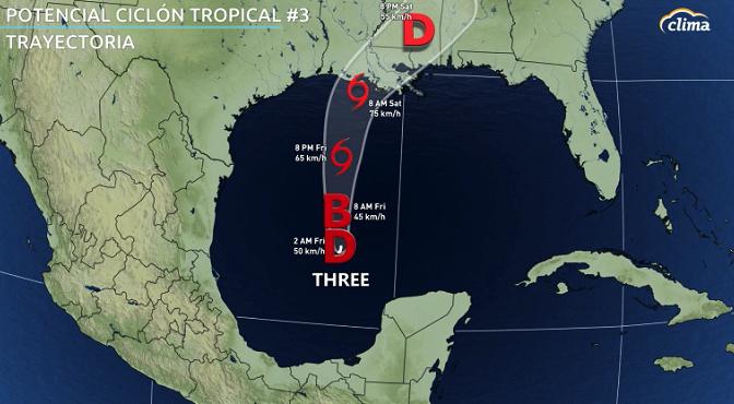Trayectoria emitida el jueves por la tarde por el Centro Nacional de Huracanes.
