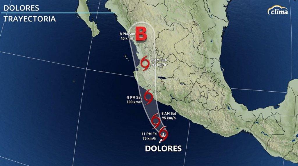 Trayectoria de Dolores emitida el viernes por la tarde