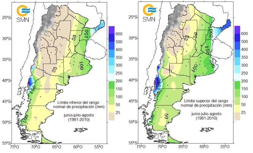 Precipitaciones promedio durante los meses de invierno: junio, julio y agosto. Mapa por el Servicio Meteorológico Nacional de Argentina.
