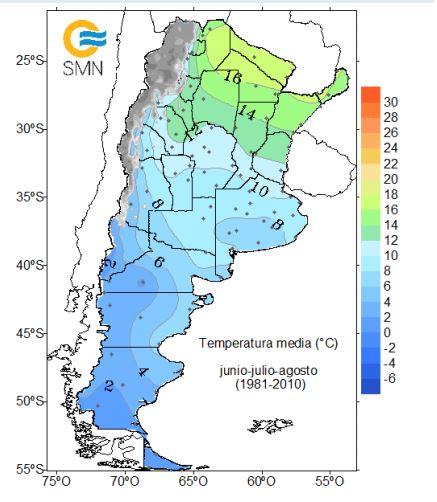 Temperaturas promedio durante los meses de invierno: junio, julio y agosto. Mapa por el Servicio Meteorológico Nacional de Argentina.