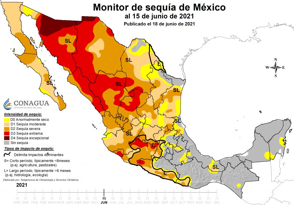 Monitor de sequía con datos hasta el 15 de junio. FUENTE CONAGUA
