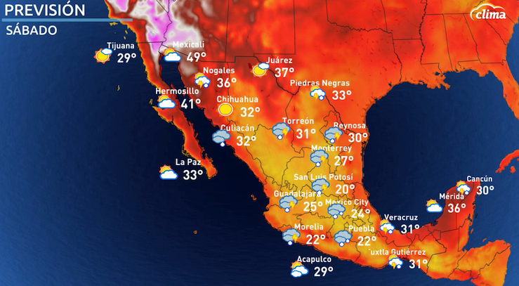 Temperaturas máximas el sábado 10 de julio. Estas temperaturas fueron parte de una ola de calor intensa enfocada sobre el suroeste de los EEUU y noroeste de México. La segundo ola de calor en un mes.