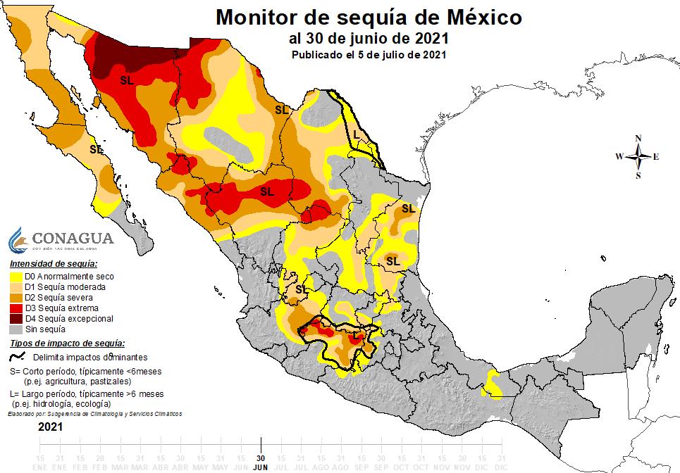 Monitor de sequía con datos hasta el 30 de junio. FUENTE CONAGUA
