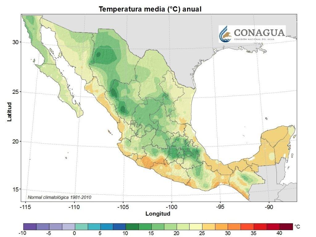 Temperaturas media anual a nivel nacional.  Mapa por CONAGUA